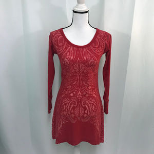 Athleta Red Burnout Lace Up Back Tunic Dress
